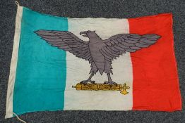 A rare WWII wartime 1944 dated Italian Fascist Party RSI linen flag. Approximately 150 x 95 cm.
