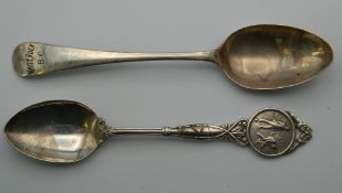 Two silver teaspoons, one inscribed ''White Rock B.C.