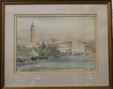 ANN WHALLEY, Venice, watercolour and ink, framed and glazed. 38 x 27 cm.
