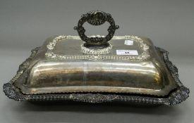 A Georgian silver entree dish. 13 cm wide. 57.2 troy ounces.