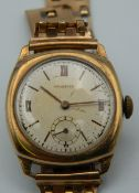 A 9 ct gold cased Crusader wristwatch. 33.2 grammes total weight.