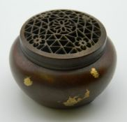 A small Chinese gold splash bronze censer. 3 cm high.