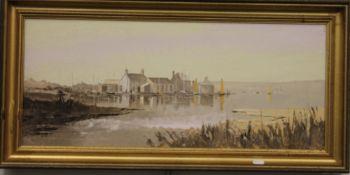HARLEY CROSSLEY, Mudderford, oil on board, framed. 69 x 29.5 cm.