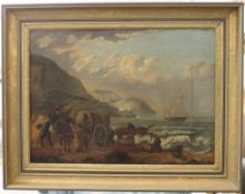 T STUART (19th century), Smugglers on the Beach and County House Scene, double sided, oil on panel,