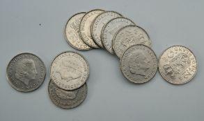 Ten 2.5 guilder coins, various dates.
