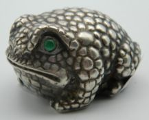 A silver model of a frog, bearing Russian marks. 5 cm long.