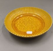 A Chinese yellow porcelain plate. 22 cm diameter.