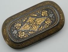 A 19th century gold inlaid iron box. 8.25 cm wide.