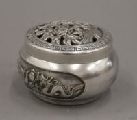 A Chinese silvered bronze lidded censer. 6 cm high.