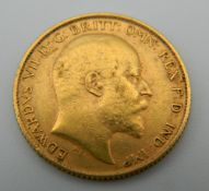 A 1906 gold half sovereign