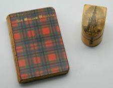 A late 19th century miniature book, The Story of Sir William Wallace, with tartanware cover,