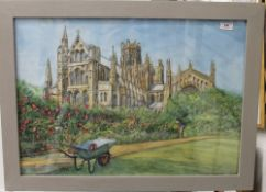 JOHN BELL, Ely Cathedral, watercolour, framed and glazed. 68 x 48 cm.