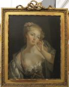 A 19th century oil on canvas, Portrait of a Slightly Exposed Young Lady,