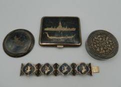 Three Eastern silver boxes and a bracelet. 238.4 grammes total weight.
