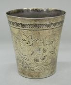 An Antique Turkish silver beaker. 9 cm high. 2.9 troy ounces.
