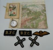 A WWI RFC (Royal Flying Corps) pilot's pocket watch, marked to the reverse,