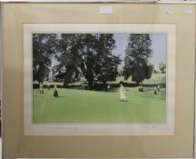 TOM ADAMS, Tennis at Badminton House, limited edition screen print 62/65, framed and glazed.