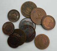 A collection of bronze medallions