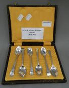 A cased set of six bright cut teaspoons by London makers Peter and William Bateman (1808-1813). 64.