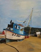 Cornish Fishing Boats, oil on canvas, initialled ST, unframed. 28 x 35.5 cm.