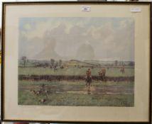 LIONEL EDWARDS (1878-1966) British, Cottesmore Hunt, print, signed in pencil to margin,