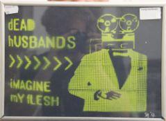 Dead Husbands, signed SB 14, framed and glazed. 28.5 x 20.5 cm.