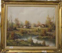Woodland Scene, oil on canvas, indistinctly signed, framed. 60 x 49 cm.