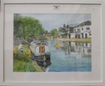 JOHN BELL, Fishing on the River Cam, Cambridge, watercolour and pastel, signed, framed and glazed.
