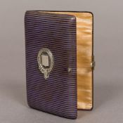 A 19th century leather covered aide-memoire Of hinged rectangular form,