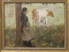Cattle Grazing with Shepherdess Leaning against a Tree, oil on canvas, indistinctly signed, framed.