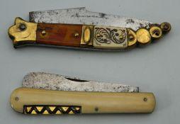 A 19th century Toledo steel, brass and tortoiseshell folding knife,