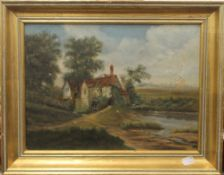 A Victorian oil on canvas of a Cottage in a Rural Setting,