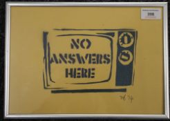 No Answers Here, print, signed and dated SB 14, framed and glazed. 28.5 x 20 cm.