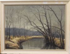 M MUELLER, River Scene, oil on board, dated '68, framed. 62 x 47 cm.