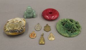 A quantity of Chinese jade carvings, etc.