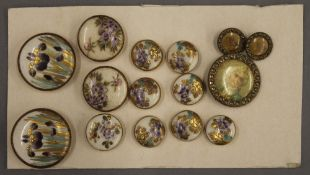 A collection of Satsuma buttons and three others. The largest 3 cm diameter.