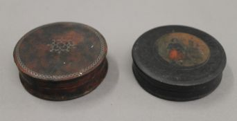 Two 19th century papier mache snuff boxes. Each 7.5 cm diameter.