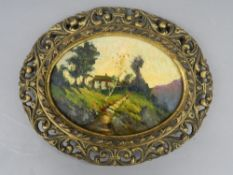 CONTINENTAL SCHOOL, Rural Cottage, oil, oval framed. 34 cm wide overall.