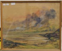 Asian pastel, Sea Scape, signed, framed and glazed. 54.5 x 45 cm.