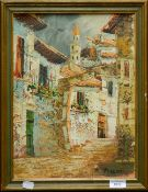 R FRANCIS, Continental Town View, oil on canvas, framed. 28 x 38.5 cm.