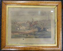 Three Victorian maple framed Hunting prints. Each 64 x 51.5 cm.
