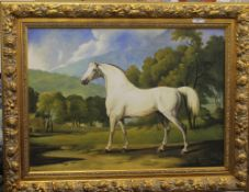 After GEORGE STUBBS (1724-1806), Bay Mare in a Landscape, oil on canvas, framed. 83 x 61 cm.