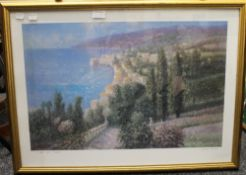 LAZSLO RITTER, La Baie Des Anges, print, framed and glazed. 60 x 40 cm.