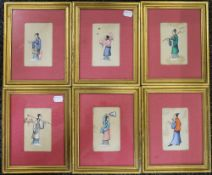 A set of six Chinese Pith paintings, each framed and glazed. Each 7.5 x 12 cm.
