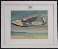 A 1940s original Flying Boat print, framed and glazed. 22 x 17.5 cm.