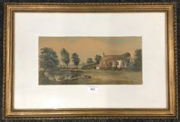 A Victorian watercolour, Cattle by a Pond, framed and glazed. 35.5 x 16.5 cm.