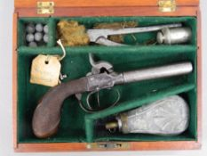 A 19th century boxed double barrelled percussion pistol
