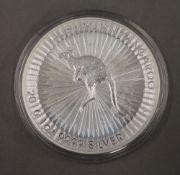 An one ounce Australian silver kangaroo coin