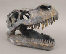 A model of a T-Rex skull.