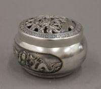 A Chinese silvered bronze lidded censer. 6 cm high.
